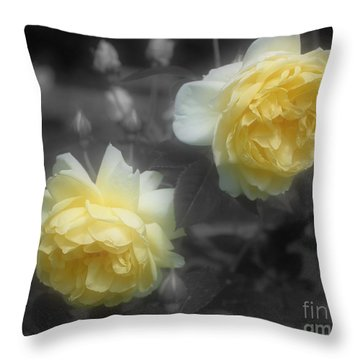 Yellow Roses Partial Color Throw Pillow