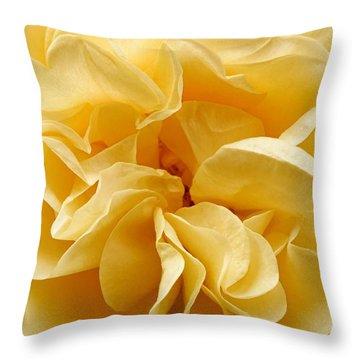 Yellow Ruffles - Rose Throw Pillow
