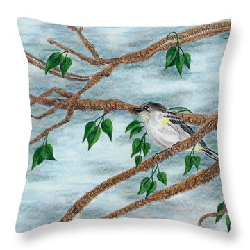 Yellow Rumped Warbler Throw Pillow