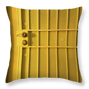 Yellow Security Door Venice Beach California Throw Pillow