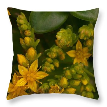 Yellow Sedum Throw Pillow