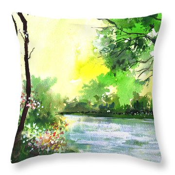 Yellow Sky Throw Pillow