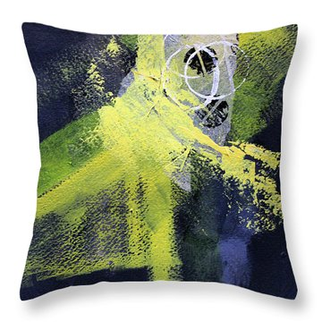 Throw Pillow featuring the painting Yellow Splash by Nancy Merkle