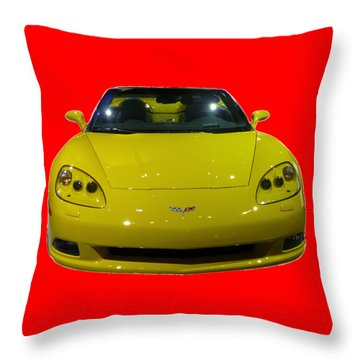 Yellow Sports Car Front Throw Pillow