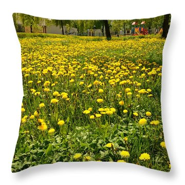 Yellow Spring Carpet Throw Pillow