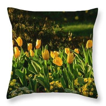 Yellow Spring Fever Throw Pillow