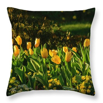 Yellow Spring Fever Throw Pillow