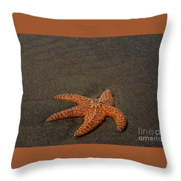 Orange Starfish On Oregon Beach Throw Pillow