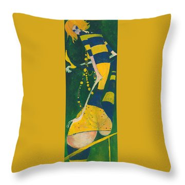 Yellow Stripes Throw Pillow