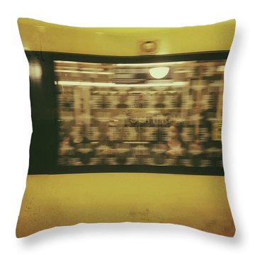 Throw Pillow featuring the photograph Yellow Subway Train by Ivy Ho