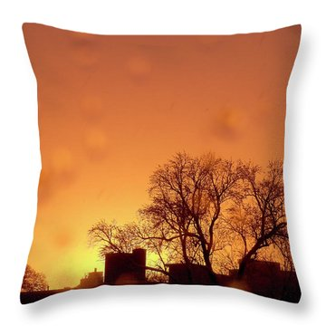 Yellow Sun Throw Pillow