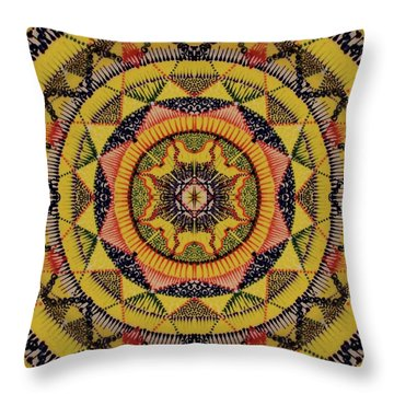 Throw Pillow featuring the painting Yellow Sun by Kym Nicolas