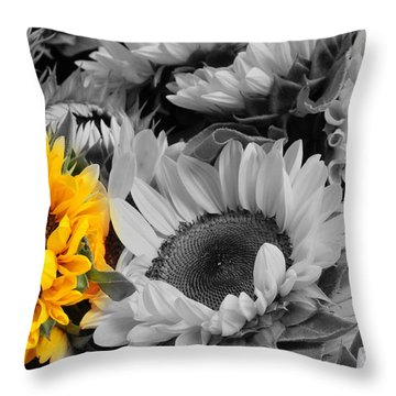 Yellow Sunflower On Black And White Throw Pillow
