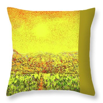 Throw Pillow featuring the digital art Yellow Sunlit Path - Marin California by Joel Bruce Wallach