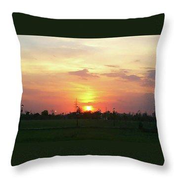 Yellow Sunset At Park Throw Pillow