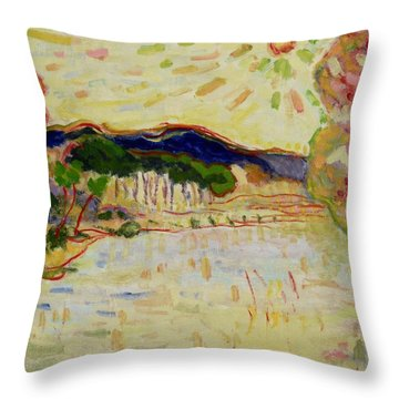 Beynac Et Cazenac , Dordogne , Yellow Sunshine  Throw Pillow by Pierre Van Dijk