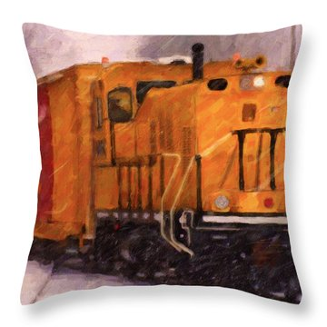Throw Pillow featuring the digital art Yellow Switcher by Chuck Mountain