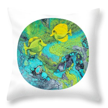 Throw Pillow featuring the painting Yellow Tang On White by Darice Machel McGuire
