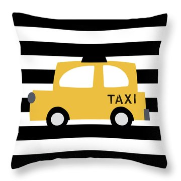Yellow Taxi With Stripes- Art By Linda Woods Throw Pillow