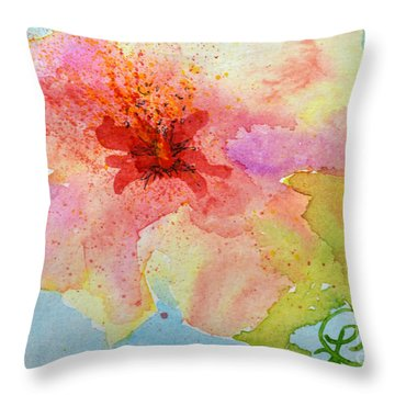 Yellow Tinged Hibiscus Throw Pillow