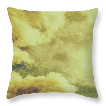 Yellow Toned Textured Grungy Cloudscape Throw Pillow