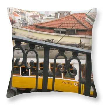 yellow tram in Lisbon Throw Pillow