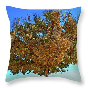 Yellow Tree Blue Sky Throw Pillow