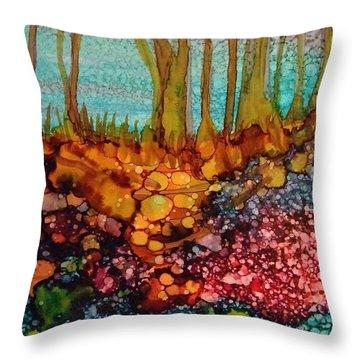 Yellow Trees Throw Pillow