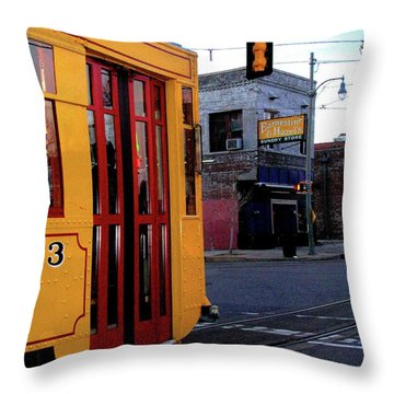 Yellow Trolley At Earnestine And Hazels Throw Pillow by Lizi Beard-Ward