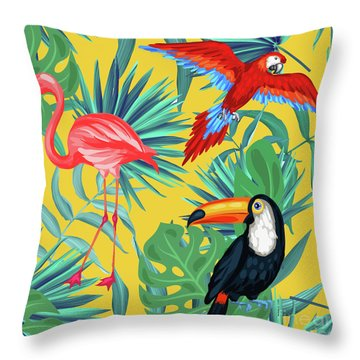 Yellow Tropic  Throw Pillow