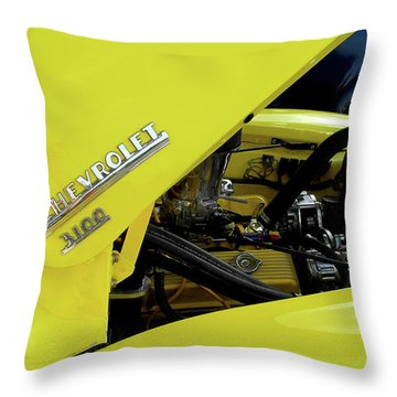 Yellow Truck Throw Pillow by Kristie  Bonnewell