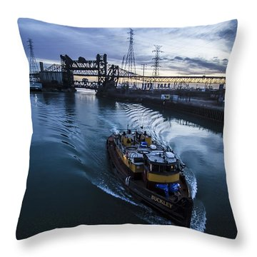Yellow Tug Boat Approaching  Throw Pillow