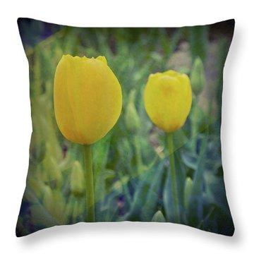 Yellow Tulip Art Throw Pillow
