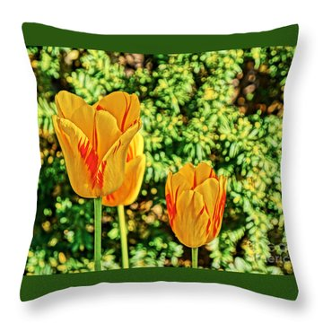 Yellow Tulip  Throw Pillow