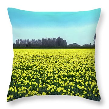 Yellow Tulip Fields Throw Pillow by David Patterson