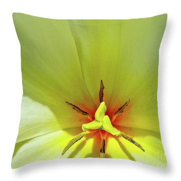 Yellow Tulip Throw Pillow by Susan Cole Kelly