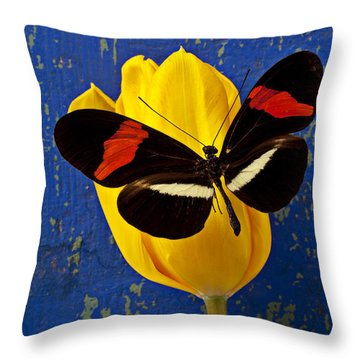 Yellow Tulip With Orange And Black Butterfly Throw Pillow by Garry Gay