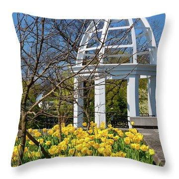 Yellow Tulips And Gazebo Throw Pillow
