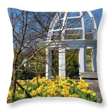 Yellow Tulips And Gazebo Throw Pillow