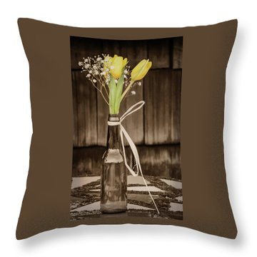 Yellow Tulips In Glass Bottle Sepia Throw Pillow by Terry DeLuco