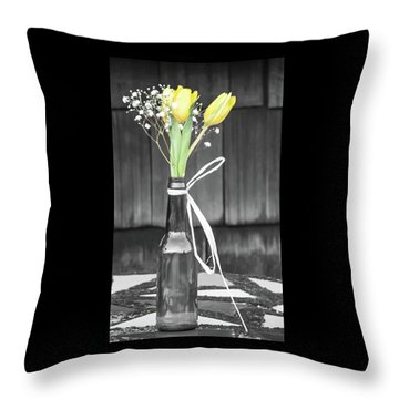 Yellow Tulips In Glass Bottle Throw Pillow by Terry DeLuco