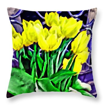 Throw Pillow featuring the painting Yellow Tulips by Joan Reese