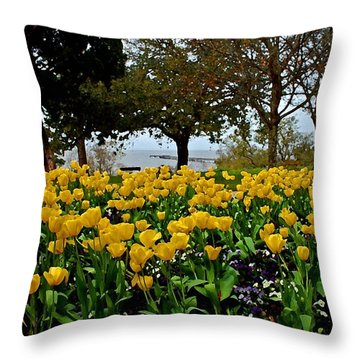 Yellow Tulips Of Fairhope Alabama Throw Pillow