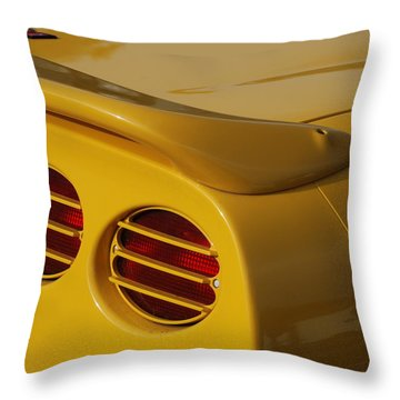 Yellow Vette Lights Throw Pillow by Rob Hans