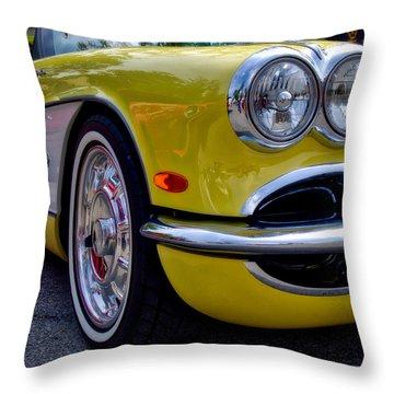 Yellow Vette Throw Pillow
