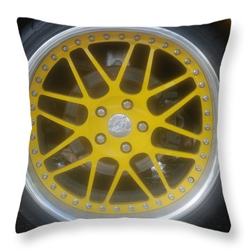 Yellow Vette Wheel Throw Pillow by Rob Hans