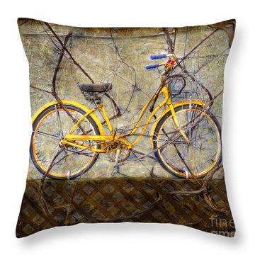 Yellow Vine Bike Throw Pillow