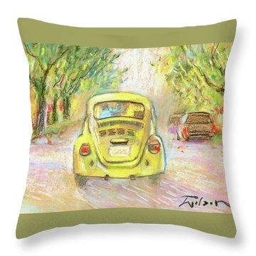Yellow Vw Throw Pillow by Ron Wilson