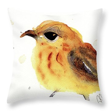 Throw Pillow featuring the painting Yellow Warbler by Dawn Derman
