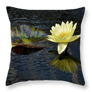 Yellow Waterlily And Ripples Throw Pillow